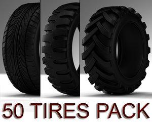 pack 50 tires 3d model