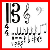 musical symbols 3d model