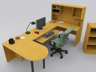 work desk lamp office workstation 3d model