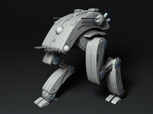 origami combat walkers 3d model