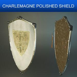 shield charlemagne polished 3d model