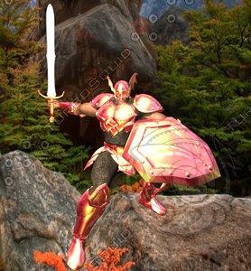 dragon knight man 3d obj