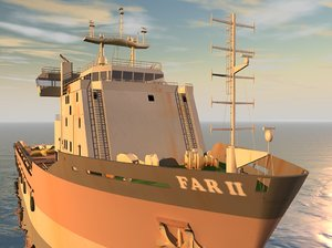 3d model oil rig vessel supply