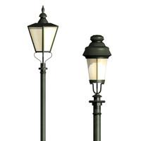 2 vintage street lamps 3d model
