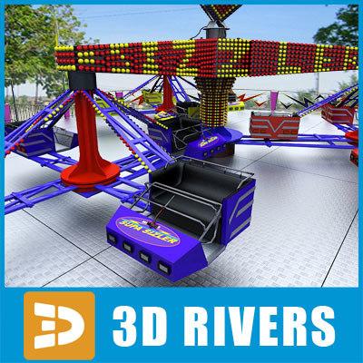 scrambler amusement park 3d model
