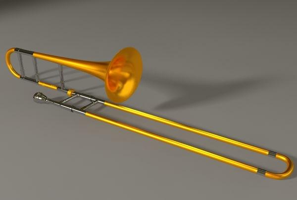 trombone brass 3d model