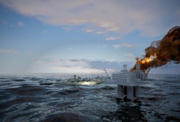 naval attack scene 3d model
