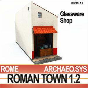 roman house glassware shop 3d obj