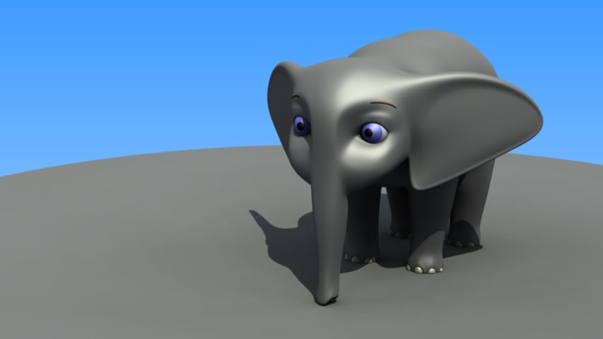 3d cartoon african elephant calf model
