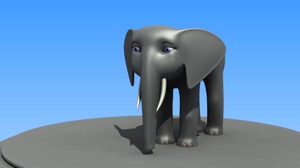 cartoon african elephant cow 3d blend