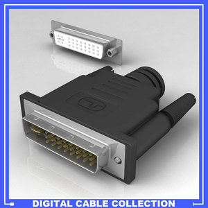 dvi-i connector female 3d model