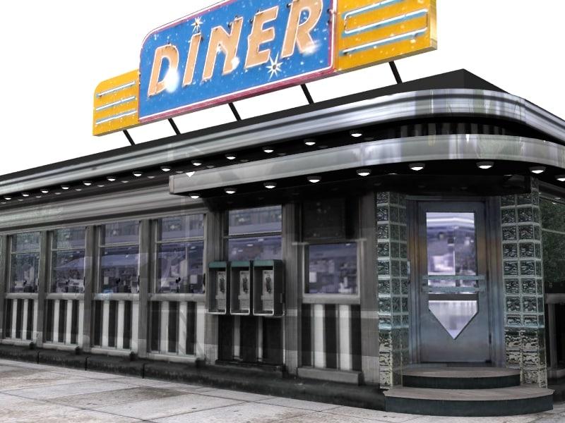 classic diner street corner 3d model