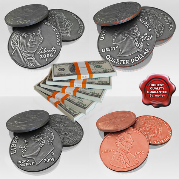 3d model dollar set banknotes