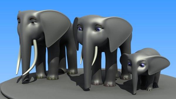 3d model cartoon african elephant family