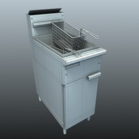 3d deep fryer kitchen model