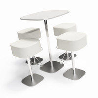 bar stools table 3d model