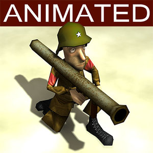 bazooka cartoon soldier 3d model