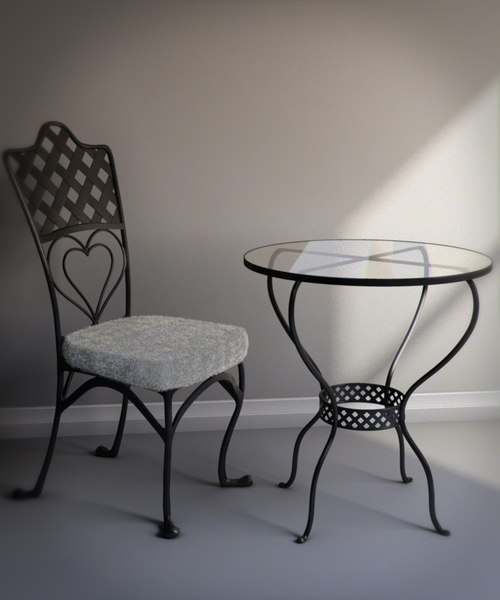 cafe chair table 3d model