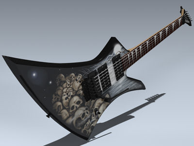 3d electric guitar kelly model