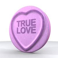 3d love heart model