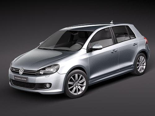 volkswagen golf 6 bluemotion 3d model. Black Bedroom Furniture Sets. Home Design Ideas