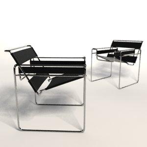 marcel breuer wassily chair 3d model