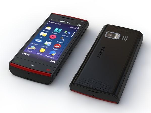 nokia x6 phone 3d model