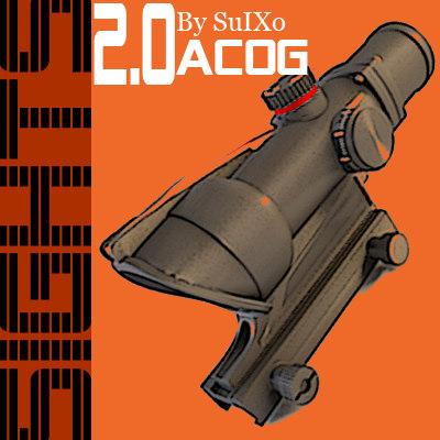 advanced combat optical gunsight 3d model