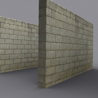weathered block wall 3d model