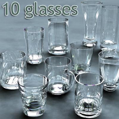 10 glasses - 3d model
