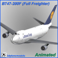 b747-200 freighter aircraft animation 3d model