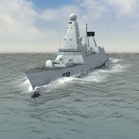 hms daring destroyer 3d model