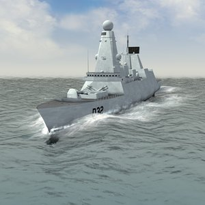 hms daring destroyer 3d model