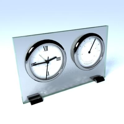 maya chrome glass clock thermometer