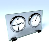 maya chrome glass clock thermometer