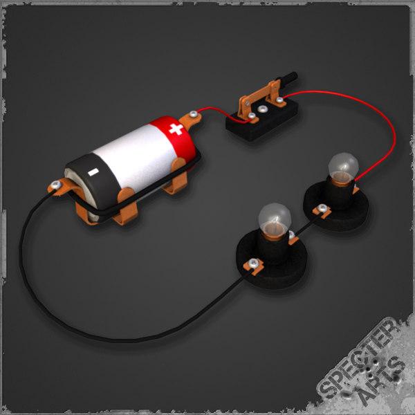 illustration simple series circuit 3d model