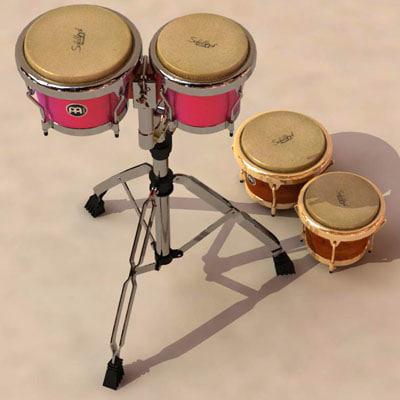 3d max bongos percussion drums