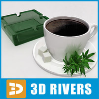 coffee cup ashtray 3d model