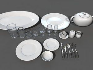 set dishes glassware flatware 3d obj