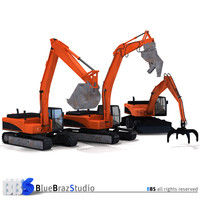 excavator handler demolition 3d model