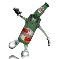 kronenbourg bottle character cartoon 3d model