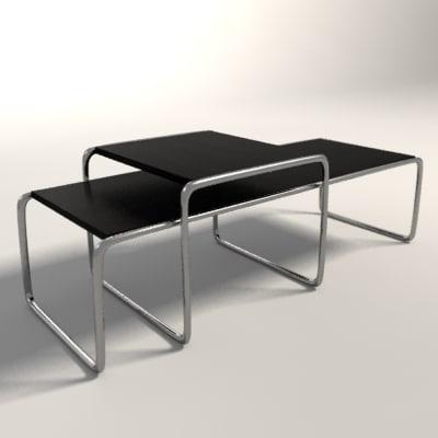 3d marcel breuer laccio tables model