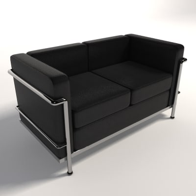 le corbusier lc2 two-seater 3d model