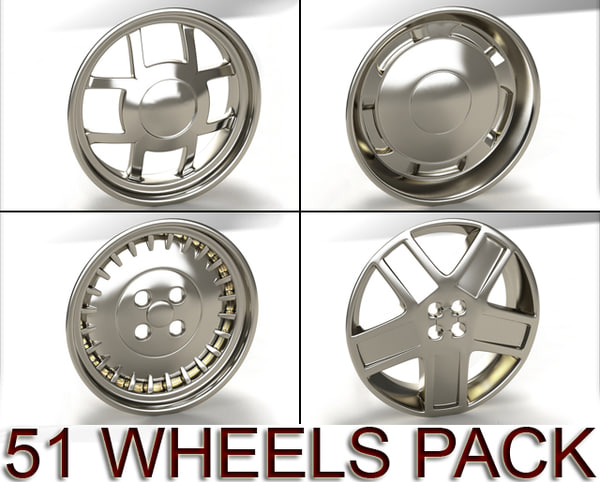 pack 51 wheels 3d model