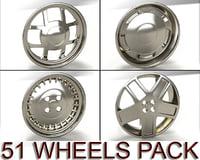 pack 51 wheels 3d model