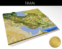 Iran, High resolution 3D relief maps