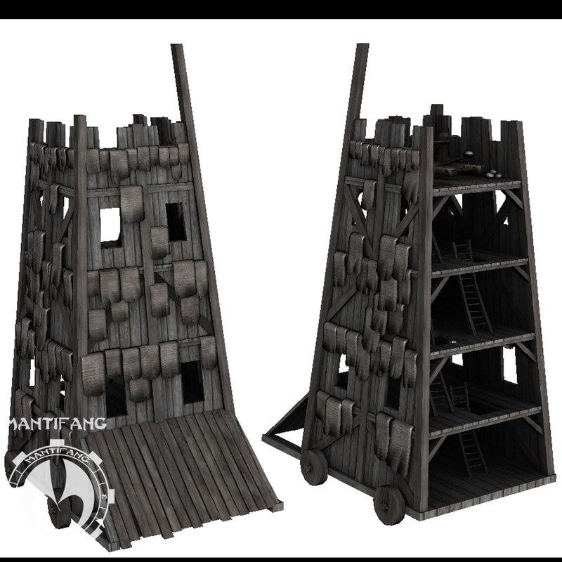 castle siege tower 3d model