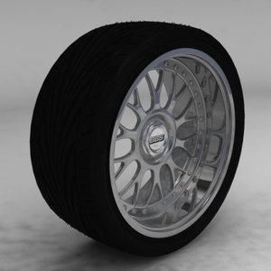 bbs sport rim tire 3d model