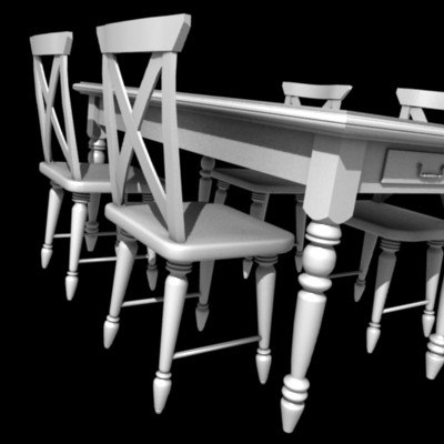 country style table chairs 3d model