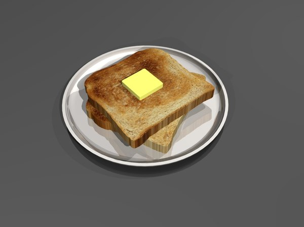 buttered toast plate 3d model